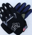 Black Leather With Bull Images On Motorcycle Gloves
