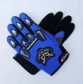 Blue & Black With Bull Images Cloth Leather Motorcycle Gloves