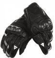 Black Blaster Leather Carbon Fiber Shell Motorcycle Gloves