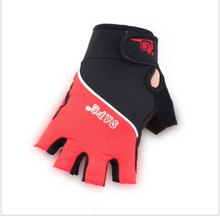 Black & Red Cycling Embroidery Sports Gloves
