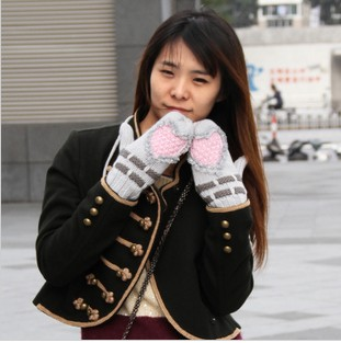 Jacquard With Bow Cotton & Nylon Winter Gloves