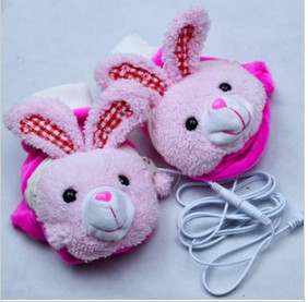 Rabbit Images On USB Heated Cotton & Wool Winter Gloves