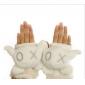 White Half Finger Keep Warm Woolen Gloves