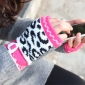 Knitted Mixcolor Fingerless Winter Gloves