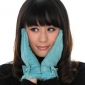 Blue With Bow Soft Face Winter Gloves
